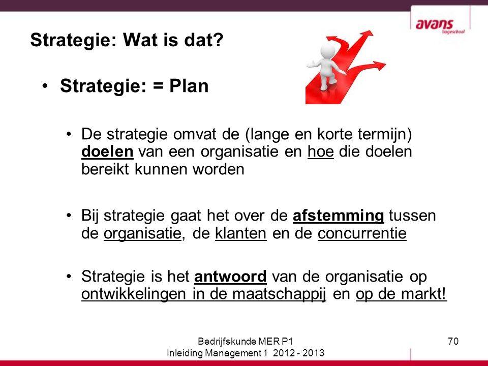 70 Strategie: Wat is dat? Strategie: = Plan De strategie omvat de (lange en korte termijn) doelen van een organisatie en hoe die doelen bereikt kunnen
