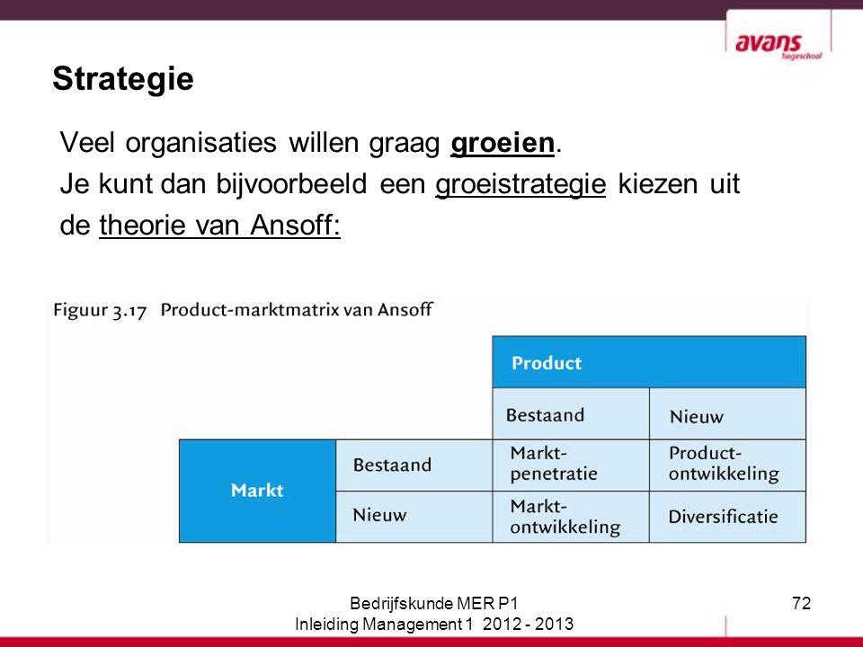 72 Strategie Veel organisaties willen graag groeien. Je kunt dan bijvoorbeeld een groeistrategie kiezen uit de theorie van Ansoff: Bedrijfskunde MER P