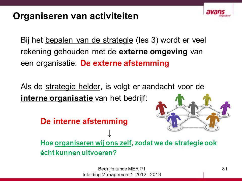 81 Organiseren van activiteiten Bij het bepalen van de strategie (les 3) wordt er veel rekening gehouden met de externe omgeving van een organisatie: