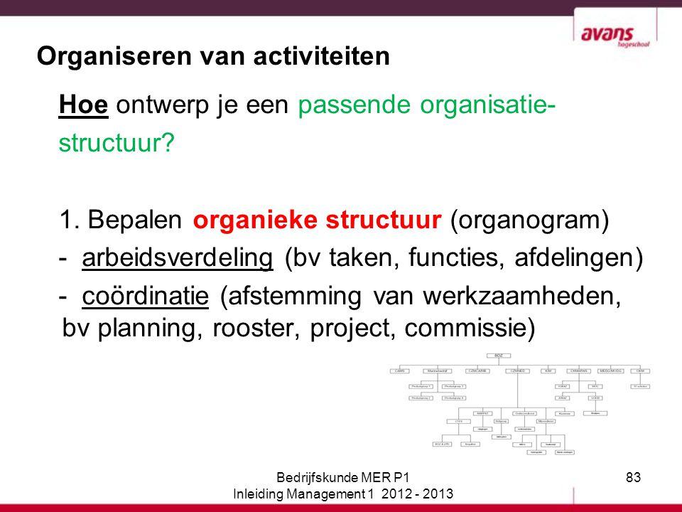83 Organiseren van activiteiten Hoe ontwerp je een passende organisatie- structuur? 1. Bepalen organieke structuur (organogram) - arbeidsverdeling (bv