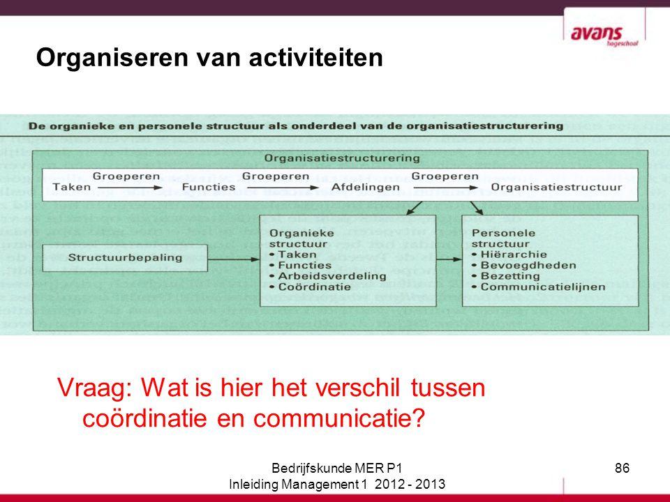 86 Organiseren van activiteiten Vraag: Wat is hier het verschil tussen coördinatie en communicatie? Bedrijfskunde MER P1 Inleiding Management 1 2012 -