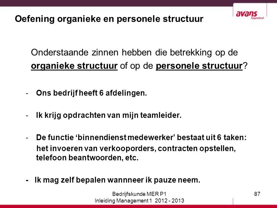 87 Oefening organieke en personele structuur Onderstaande zinnen hebben die betrekking op de organieke structuur of op de personele structuur? -Ons be