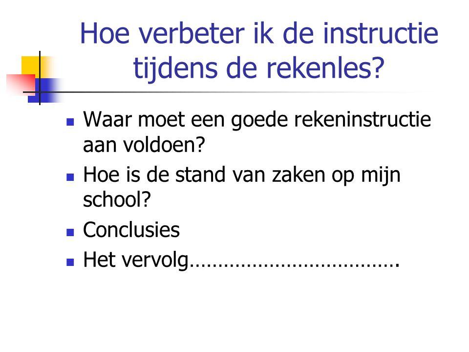 Hoe verbeter ik de instructie tijdens de rekenles? Waar moet een goede rekeninstructie aan voldoen? Hoe is de stand van zaken op mijn school? Conclusi