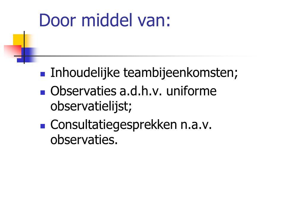 Door middel van: Inhoudelijke teambijeenkomsten; Observaties a.d.h.v. uniforme observatielijst; Consultatiegesprekken n.a.v. observaties.