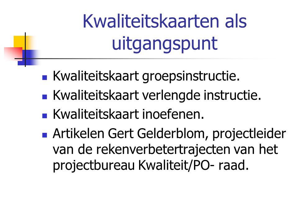 Kwaliteitskaarten als uitgangspunt Kwaliteitskaart groepsinstructie.