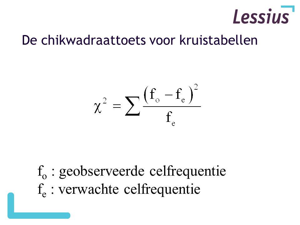 De chikwadraattoets voor kruistabellen f o : geobserveerde celfrequentie f e : verwachte celfrequentie