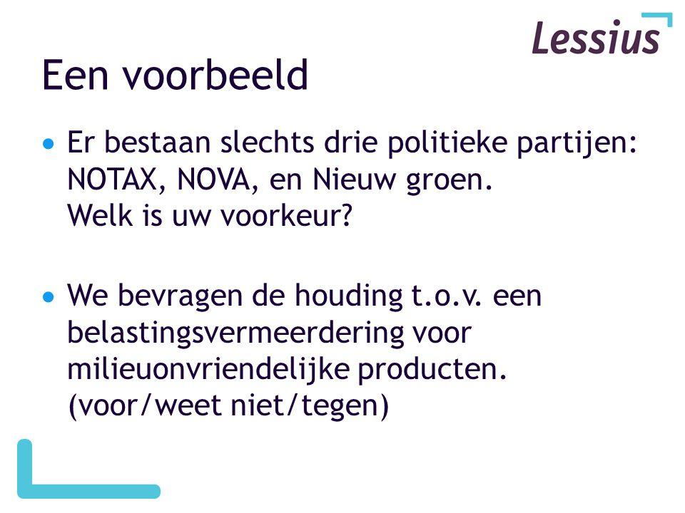 Een voorbeeld  Er bestaan slechts drie politieke partijen: NOTAX, NOVA, en Nieuw groen. Welk is uw voorkeur?  We bevragen de houding t.o.v. een bela
