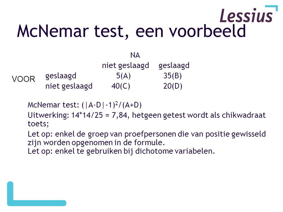 McNemar test, een voorbeeld NA niet geslaagdgeslaagd geslaagd 5(A) 35(B) niet geslaagd 40(C) 20(D) McNemar test: (|A-D|-1) 2 /(A+D) Uitwerking: 14*14/