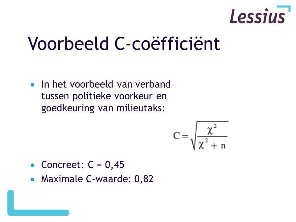 Voorbeeld C-coëfficiënt  In het voorbeeld van verband tussen politieke voorkeur en goedkeuring van milieutaks:  Concreet: C = 0,45  Maximale C-waar