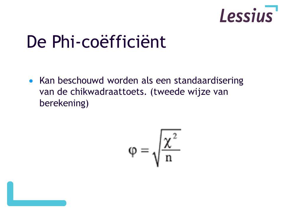 De Phi-coëfficiënt  Kan beschouwd worden als een standaardisering van de chikwadraattoets. (tweede wijze van berekening)