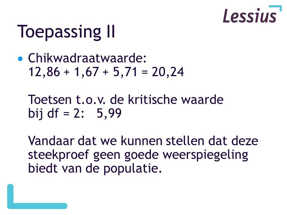 Toepassing II  Chikwadraatwaarde: 12,86 + 1,67 + 5,71 = 20,24 Toetsen t.o.v. de kritische waarde bij df = 2: 5,99 Vandaar dat we kunnen stellen dat d