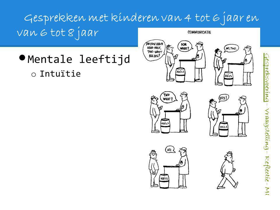 Gesprekken met kinderen van 4 tot 6 jaar en van 6 tot 8 jaar Mentale leeftijd o Intuïtie Gespreksvoering – Vraagstelling – Reflectie - MI