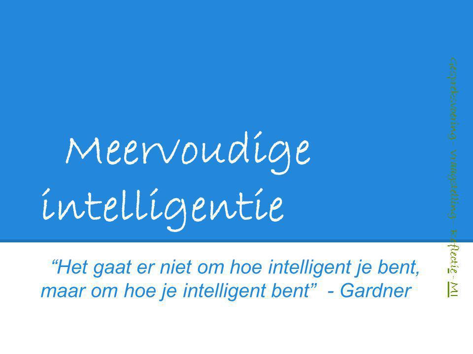 """Meervoudige intelligentie """"Het gaat er niet om hoe intelligent je bent, maar om hoe je intelligent bent"""" - Gardner Gespreksvoering – Vraagstelling – R"""