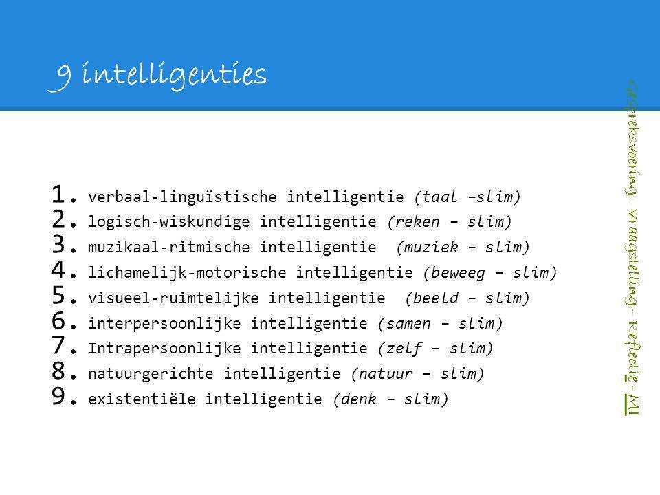 9 intelligenties 1. verbaal-linguïstische intelligentie (taal –slim) 2. logisch-wiskundige intelligentie (reken – slim) 3. muzikaal-ritmische intellig