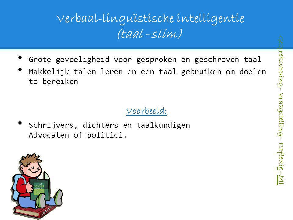 Verbaal-linguïstische intelligentie (taal –slim) Grote gevoeligheid voor gesproken en geschreven taal Makkelijk talen leren en een taal gebruiken om d