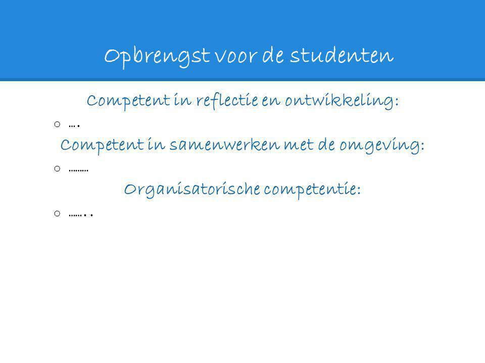 Opbrengst voor de studenten Competent in reflectie en ontwikkeling: o …. Competent in samenwerken met de omgeving: o ……… Organisatorische competentie: