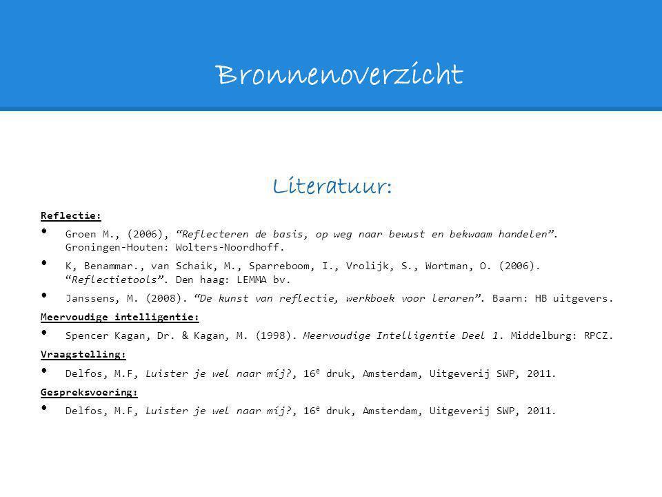 """Bronnenoverzicht Literatuur: Reflectie: Groen M., (2006), """"Reflecteren de basis, op weg naar bewust en bekwaam handelen"""". Groningen-Houten: Wolters-No"""