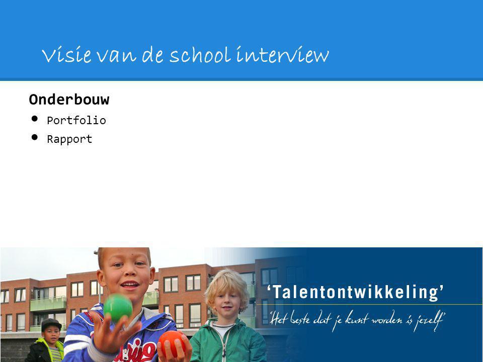 Visie van de school interview Onderbouw Portfolio Rapport
