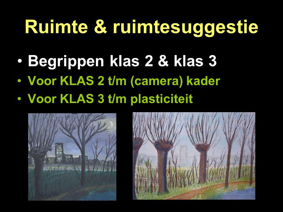 Ruimte & ruimtesuggestie Begrippen klas 2 & klas 3 Voor KLAS 2 t/m (camera) kader Voor KLAS 3 t/m plasticiteit