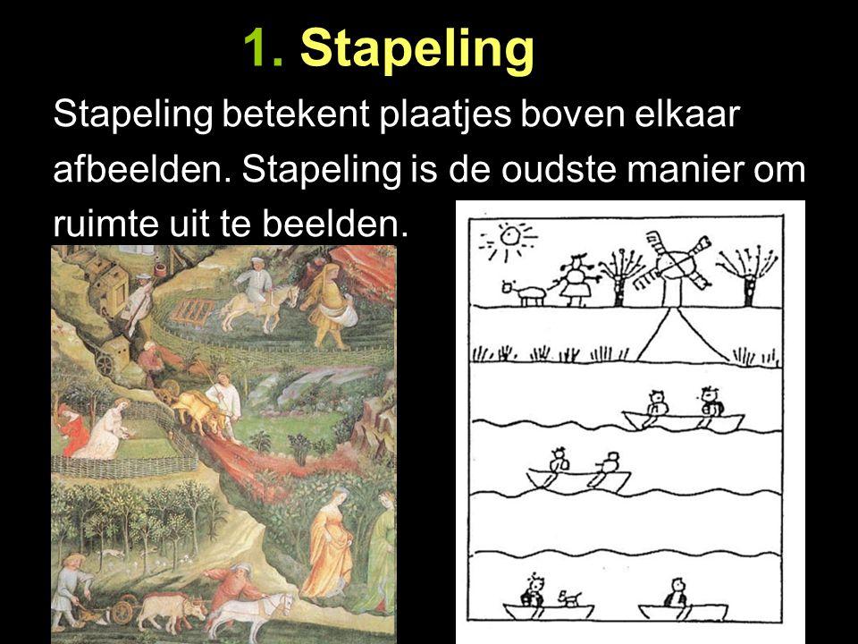 1. Stapeling Stapeling betekent plaatjes boven elkaar afbeelden. Stapeling is de oudste manier om ruimte uit te beelden.