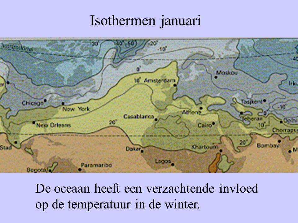 Isothermen januari De oceaan heeft een verzachtende invloed op de temperatuur in de winter.