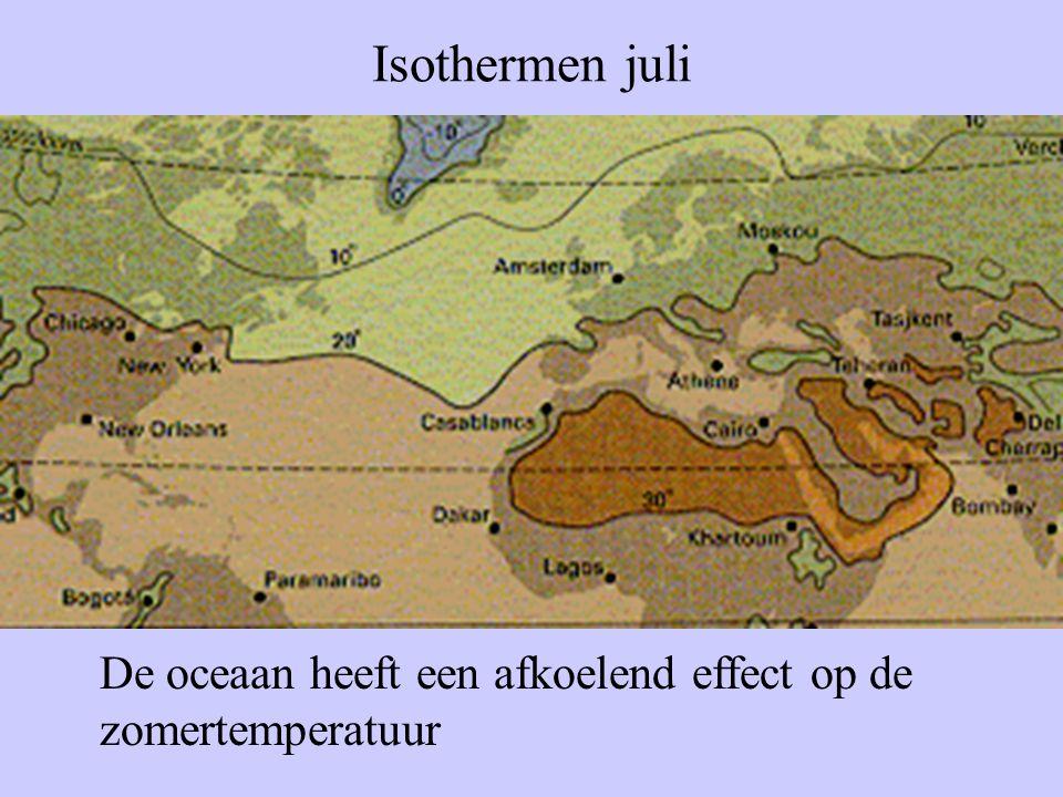 Isothermen juli De oceaan heeft een afkoelend effect op de zomertemperatuur