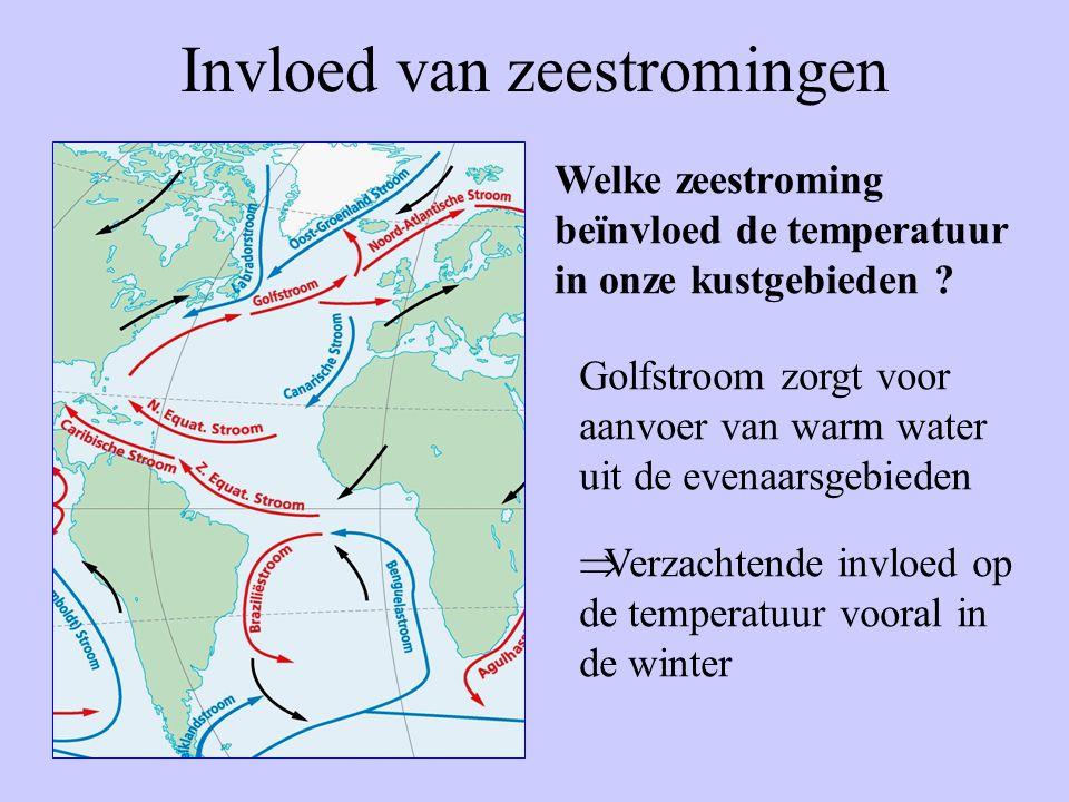 Invloed van zeestromingen Welke zeestroming beïnvloed de temperatuur in onze kustgebieden ? Golfstroom zorgt voor aanvoer van warm water uit de evenaa