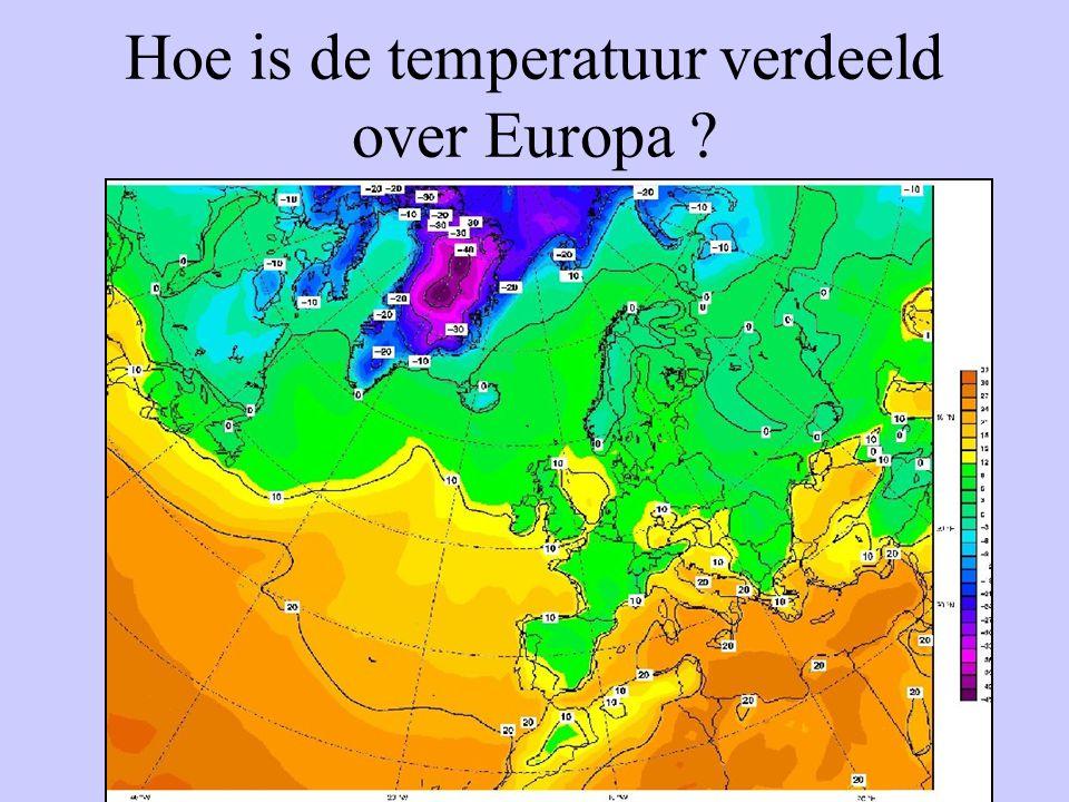 Hoe is de temperatuur verdeeld over Europa ?
