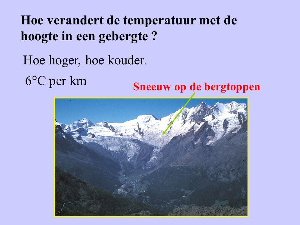 Hoe verandert de temperatuur met de hoogte in een gebergte ? Hoe hoger, hoe kouder. Sneeuw op de bergtoppen 6°C per km