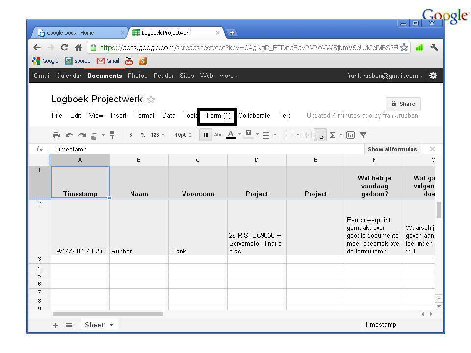 Een uitgewerkt voorbeeld: Het logboek Hoe kun je dat formulier opnieuw oproepen om nog eens te versturen?