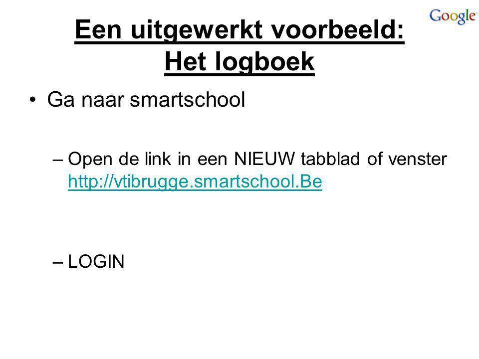 Een uitgewerkt voorbeeld: Het logboek Ga naar smartschool –Open de link in een NIEUW tabblad of venster http://vtibrugge.smartschool.Be http://vtibrug