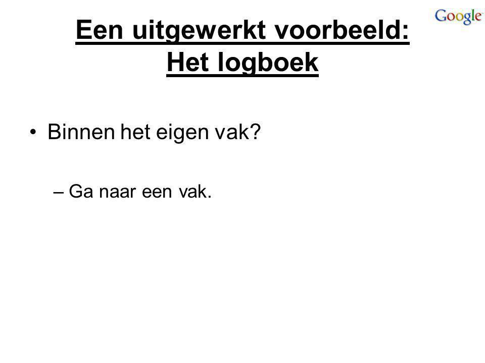 Een uitgewerkt voorbeeld: Het logboek Binnen het eigen vak? –Ga naar een vak.