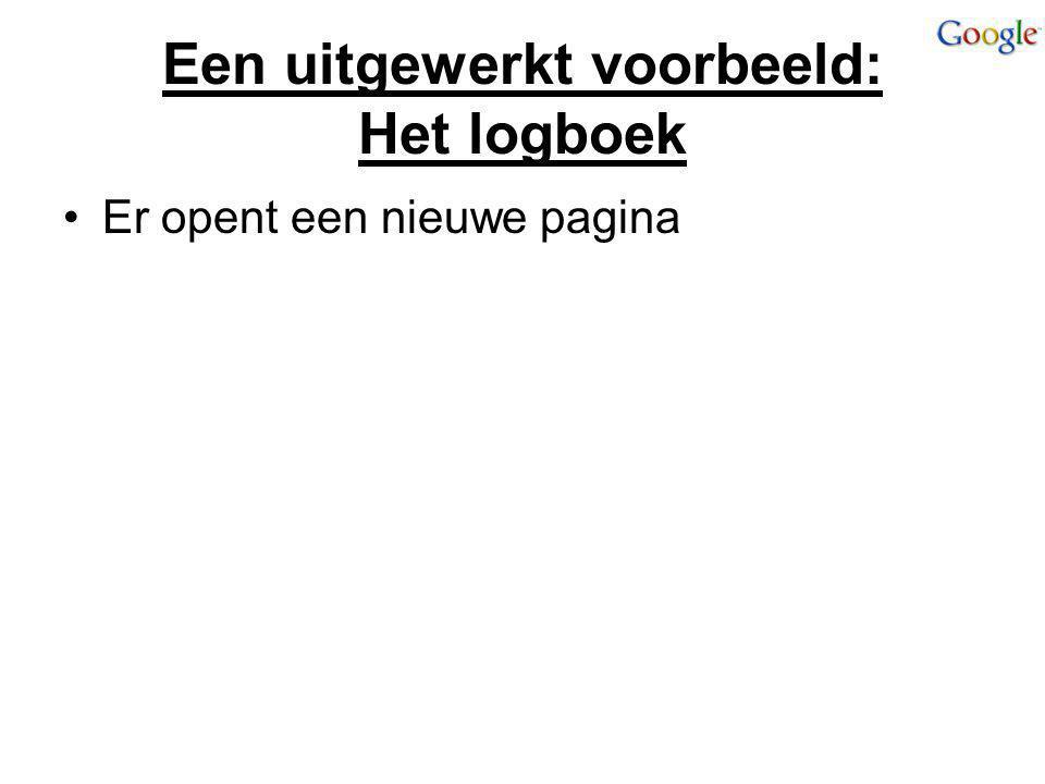 Een uitgewerkt voorbeeld: Het logboek Er opent een nieuwe pagina