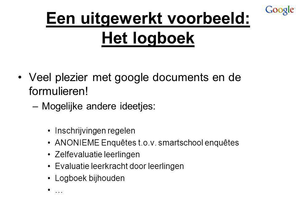 Een uitgewerkt voorbeeld: Het logboek Veel plezier met google documents en de formulieren! –Mogelijke andere ideetjes: Inschrijvingen regelen ANONIEME