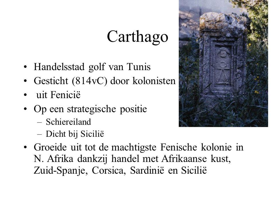 Carthago Handelsstad golf van Tunis Gesticht (814vC) door kolonisten uit Fenicië Op een strategische positie –Schiereiland –Dicht bij Sicilië Groeide