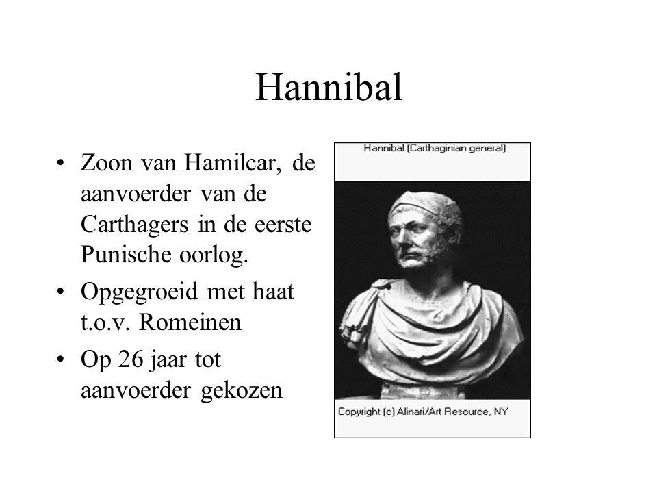 Zoon van Hamilcar, de aanvoerder van de Carthagers in de eerste Punische oorlog. Opgegroeid met haat t.o.v. Romeinen Op 26 jaar tot aanvoerder gekozen