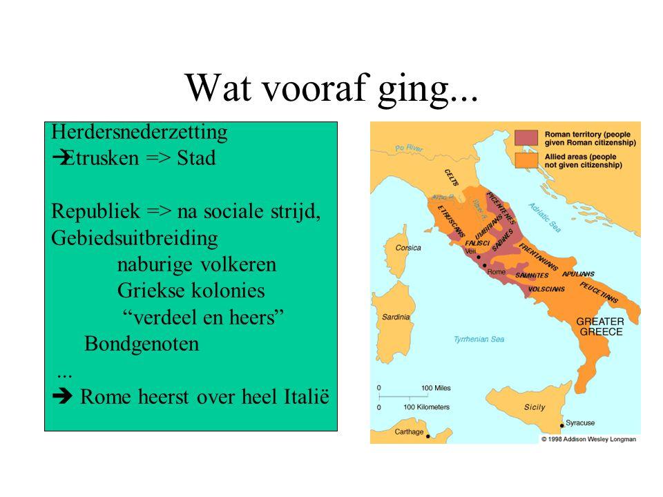 "Wat vooraf ging... Herdersnederzetting  Etrusken => Stad Republiek => na sociale strijd, Gebiedsuitbreiding naburige volkeren Griekse kolonies ""verde"