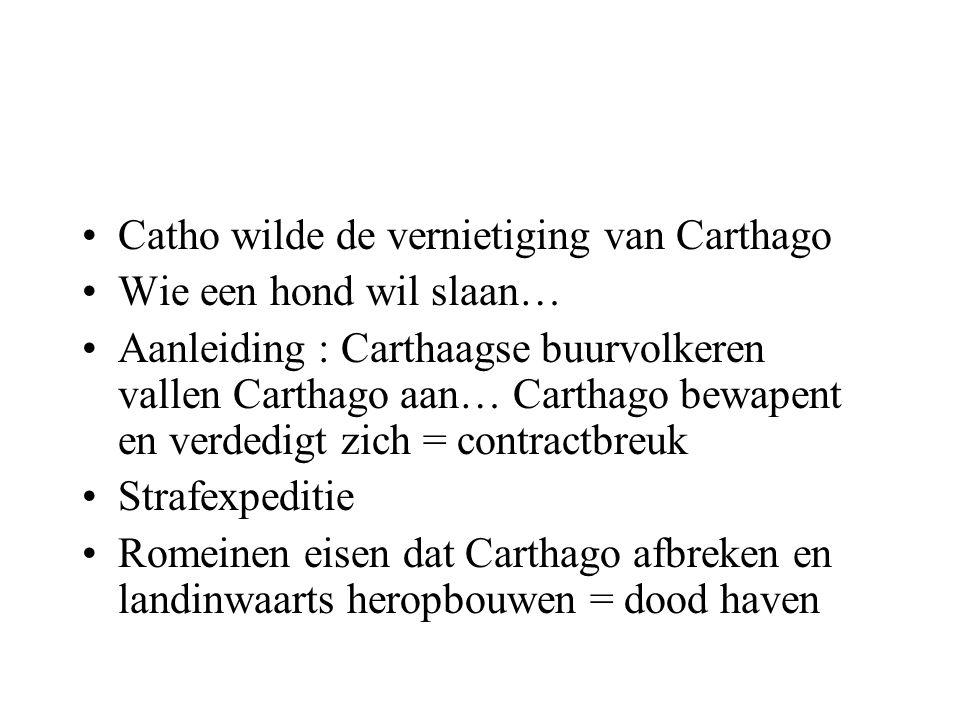 Catho wilde de vernietiging van Carthago Wie een hond wil slaan… Aanleiding : Carthaagse buurvolkeren vallen Carthago aan… Carthago bewapent en verded
