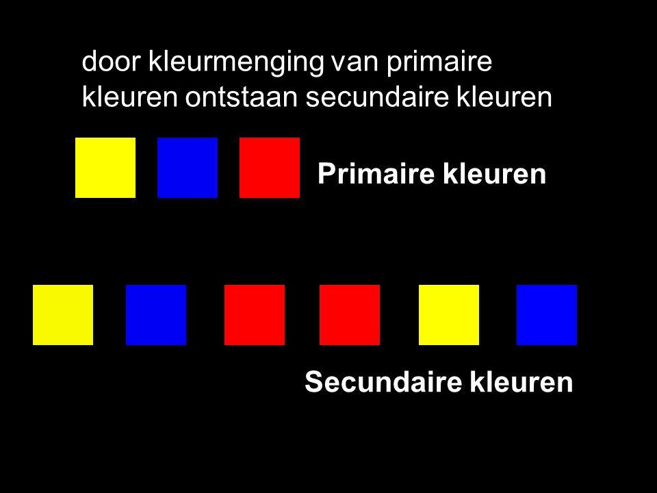Primaire kleuren Rood Geel Blauw: Primaire kleuren Kleuren van de 1 ste orde Basiskleuren Pure kleuren De primaire kleuren noemen we ook verzadigde kleuren.