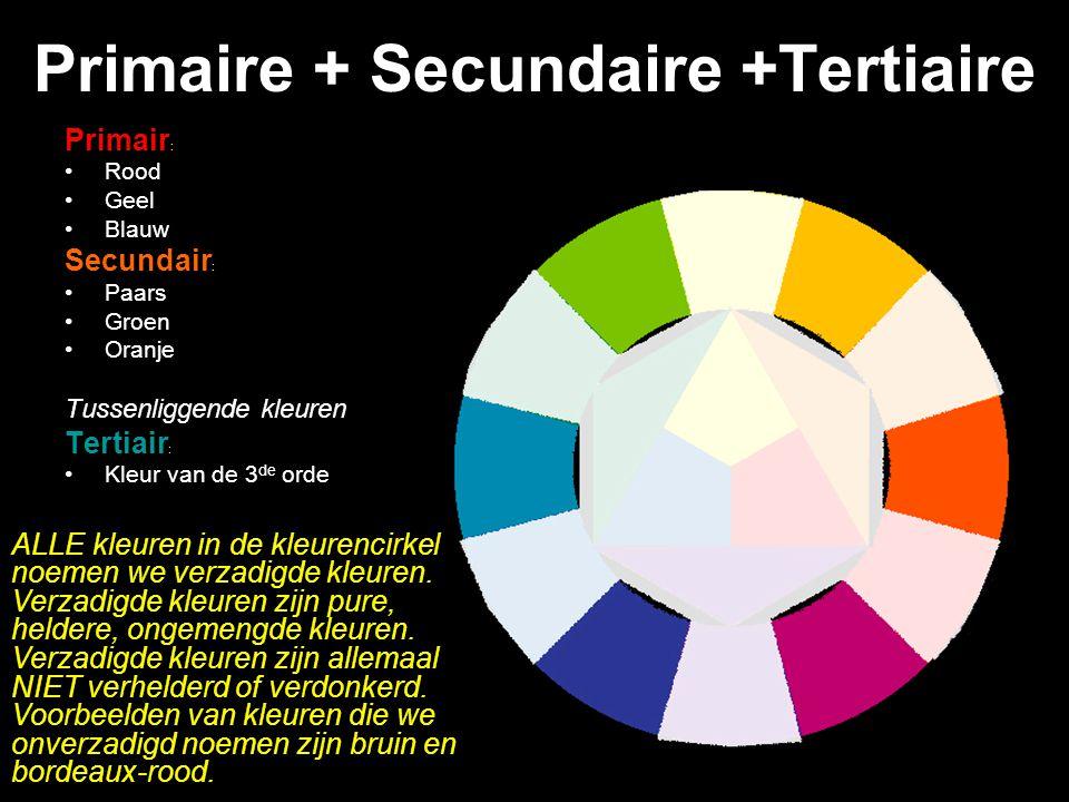 Primaire + Secundaire +Tertiaire Primair : Rood Geel Blauw Secundair : Paars Groen Oranje Tussenliggende kleuren Tertiair : Kleur van de 3 de orde ALLE kleuren in de kleurencirkel noemen we verzadigde kleuren.