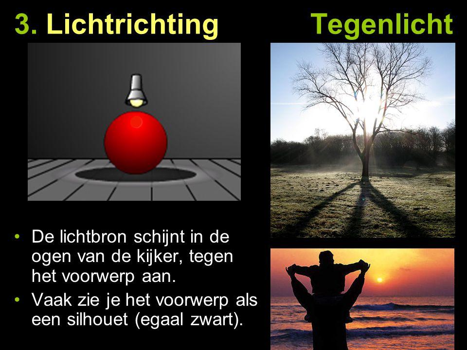 3. Lichtrichting Tegenlicht De lichtbron schijnt in de ogen van de kijker, tegen het voorwerp aan. Vaak zie je het voorwerp als een silhouet (egaal zw