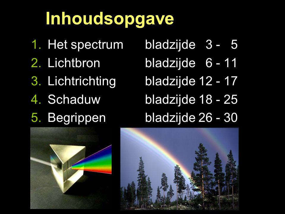 Inhoudsopgave Licht 1.Het spectrum bladzijde 03 - 05 2.Lichtbron bladzijde 06 - 11 3.Lichtrichting bladzijde 12 - 17 4.Schaduw bladzijde 18 - 25 5.Beg