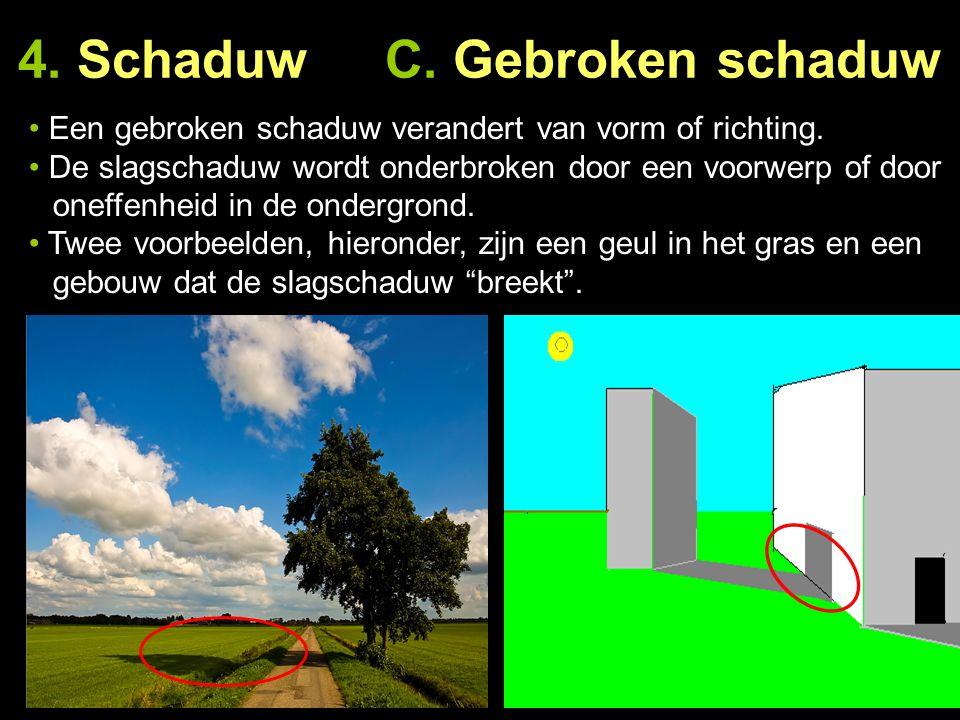4. Schaduw C. Gebroken schaduw Een gebroken schaduw verandert van vorm of richting. De slagschaduw wordt onderbroken door een voorwerp of door … oneff