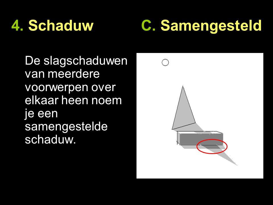 4. Schaduw C. Samengesteld De slagschaduwen van meerdere voorwerpen over elkaar heen noem je een samengestelde schaduw.