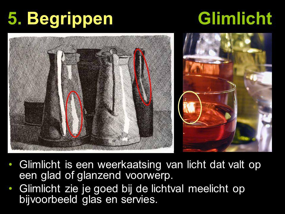 5. Begrippen Glimlicht Glimlicht is een weerkaatsing van licht dat valt op een glad of glanzend voorwerp. Glimlicht zie je goed bij de lichtval meelic