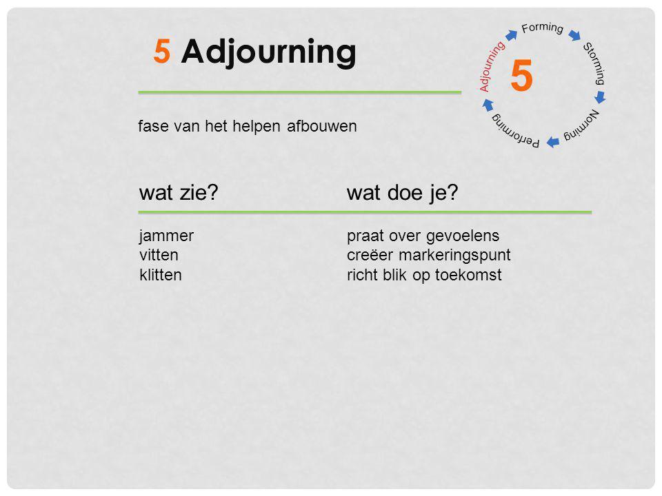 5 Adjourning wat zie?wat doe je? jammerpraat over gevoelens vittencreëer markeringspunt klittenricht blik op toekomst 5 fase van het helpen afbouwen