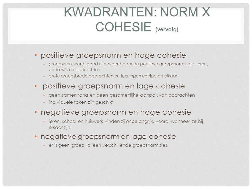 positieve normen grote cohesie (samenhang) van de groep E EN AANTREKKELIJKE GROEP