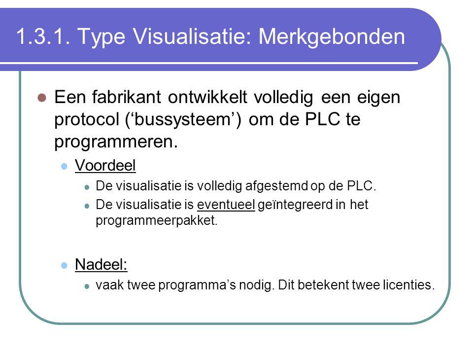 1.3.1. Type Visualisatie: Merkgebonden Een fabrikant ontwikkelt volledig een eigen protocol ('bussysteem') om de PLC te programmeren. Voordeel De visu