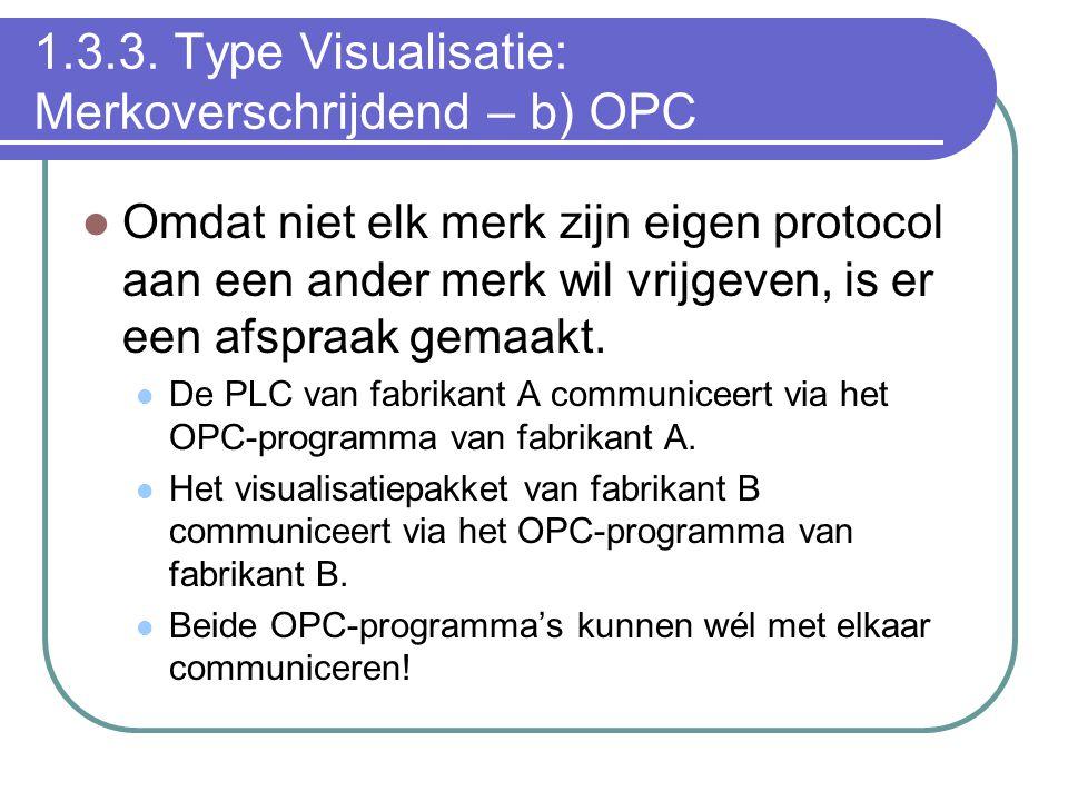 1.3.3. Type Visualisatie: Merkoverschrijdend – b) OPC Omdat niet elk merk zijn eigen protocol aan een ander merk wil vrijgeven, is er een afspraak gem