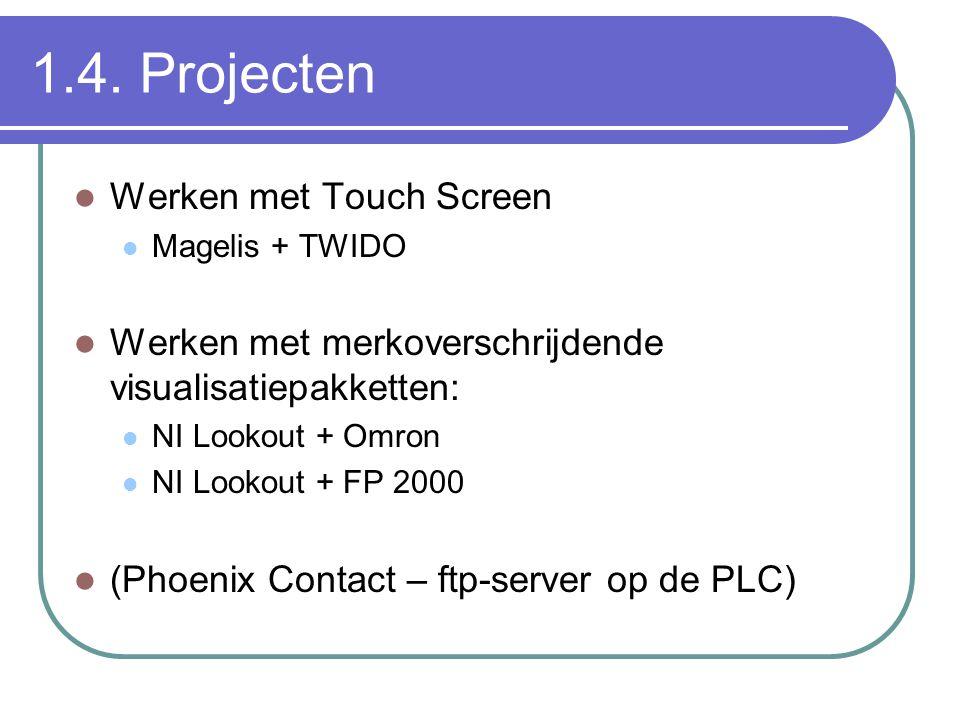 1.4. Projecten Werken met Touch Screen Magelis + TWIDO Werken met merkoverschrijdende visualisatiepakketten: NI Lookout + Omron NI Lookout + FP 2000 (